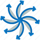 arrows, device, direction, hover, multiple, propeller, technology icon