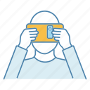 cardboard, headset, platform, reality, smartphone, virtual, vr icon