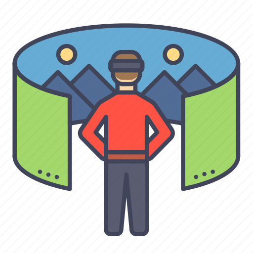 curve, panorama, perspective, scenery, view, virtual reality, vr icon