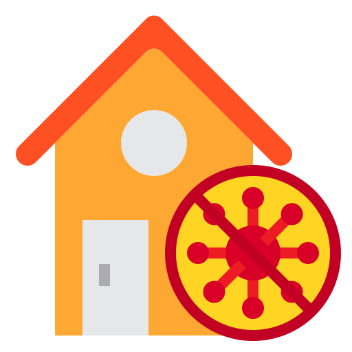 At, home, house, protect, stay, virus icon