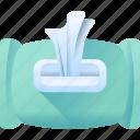 box, cleanser, tissue, wet