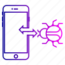 device, hack, smartphone, virus icon
