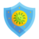 bacteria, diagnosis, protection, research, scientist, shield, virus icon