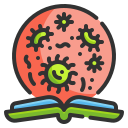 bacteria, book, education, learning, loupe, search, virus