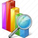 analytics, bar, chart, graph, search, statistics icon
