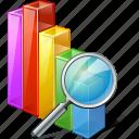 chart, graph, search icon