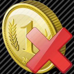 coin, delete, money, payment, remove icon