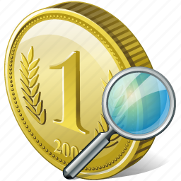 coin, money, payment, search, view icon