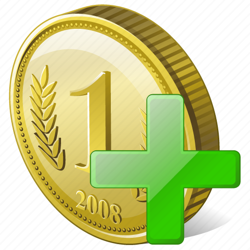 add, coin, money, payment icon