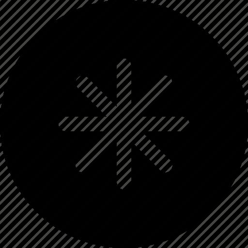 asterisk, center, item, star icon