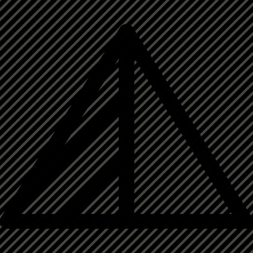 geometric, half, highlight, shape, triangle icon