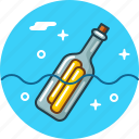 bottle, message, note, rescue, shipwreck icon