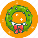 celebration, christmas, decoration, holy, new year, wreath, xmas icon