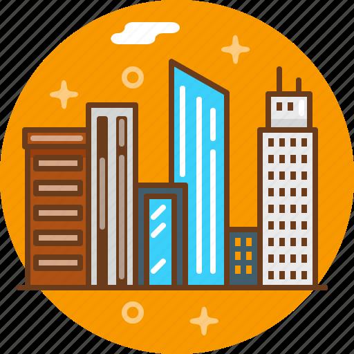 city, downtown, megapolis, new york, ny, skyscraper, town icon