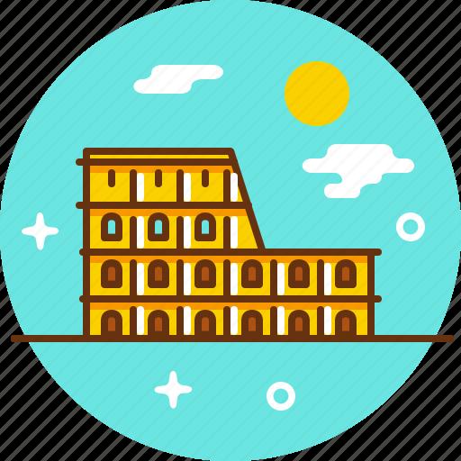 arena, coliseum, europe, italy, rome, tourism, travel icon