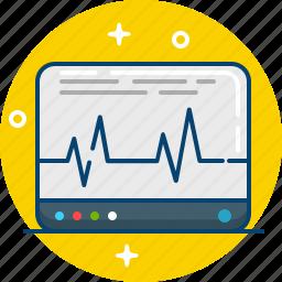 ecg, electrocardiogram, graph, monitor, screen icon