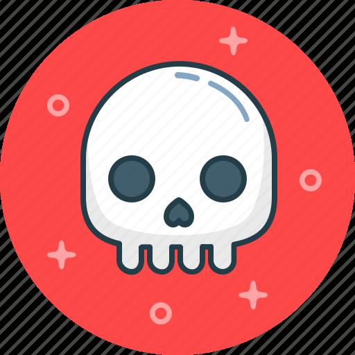 bone, dead, death, fear, skull icon