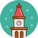 building, clock, tower icon
