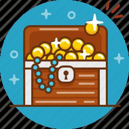 chest, coin, gold, jewelery, treasure icon