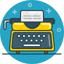 document, letter, type, type machine, typist, writer icon