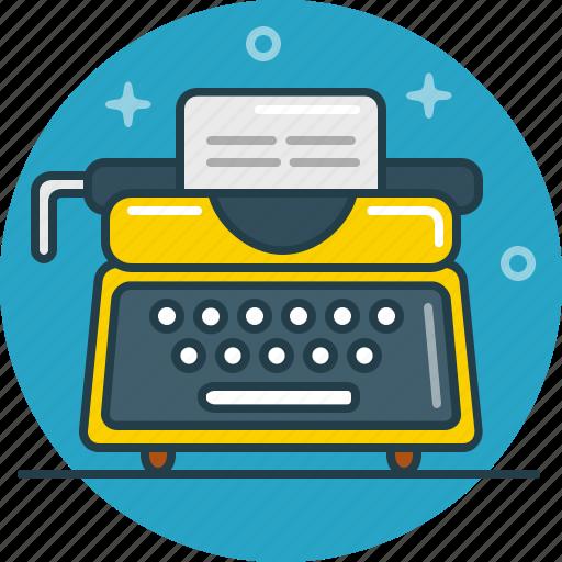 document, letter, type, type machine, typist, writer icon