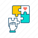 charity, command, create, donation, puzzle, volunteer, volunteering icon