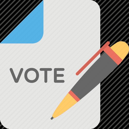 ballot paper, election campaign, vote, voting, voting list icon