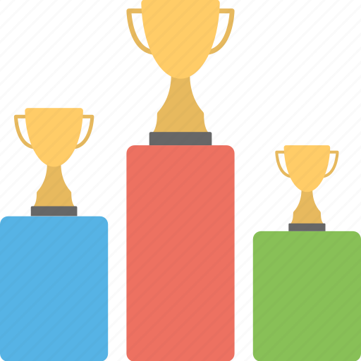 award ceremony, championship, commencement, contest, trophies on podium icon