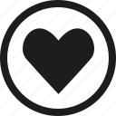 circle, favorite, heart, love icon