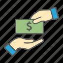 give, hand, bribe, money, election, corruption, bribery icon
