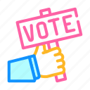 holding, hand, box, nameplate, elections, vote icon