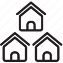 architecture, city, estate, houses, neighbourhood, outline, property icon