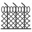 barbed wire, fence, jail, picket, protect, wall icon