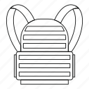 army, backpack, bag, camp, line, luggage, outline icon