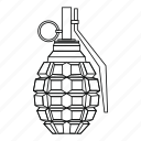 bomb, explosion, grenade, hand, line, military, outline icon