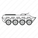 army, battle, line, military, outline, tank, weapon icon