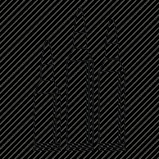 ammunition, bullet, gunshot, hit, line, outline, target icon
