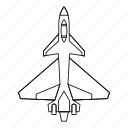 air, army, fighter, jet, line, outline, speed icon
