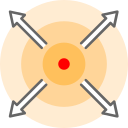 dispersion, move, run away, strategy, tactic icon