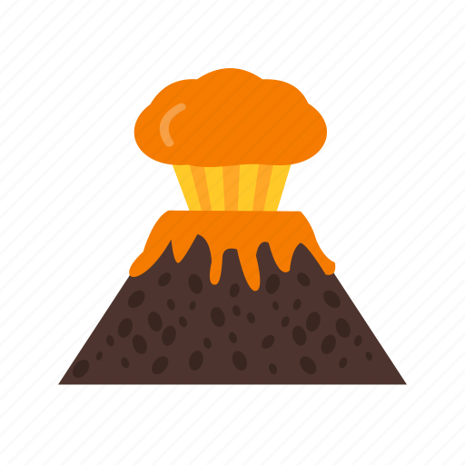 danger, disaster, eruption, lava, risk, volcano, warning icon