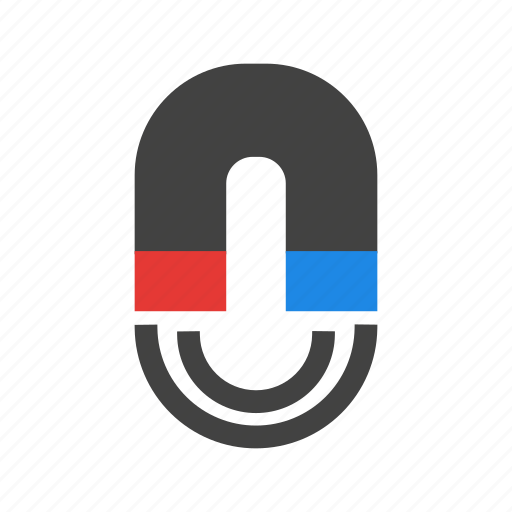 attraction, horseshoe, magnet, metal, sign, waves icon