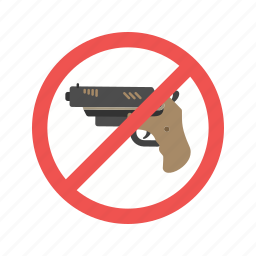 control, guns, handgun, no, pistol, safety, warning icon