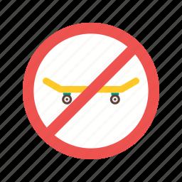 danger, roller, shoe, sign, sport, stop, warning icon