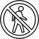 hiker, no, pass, signs, walking, warning icon