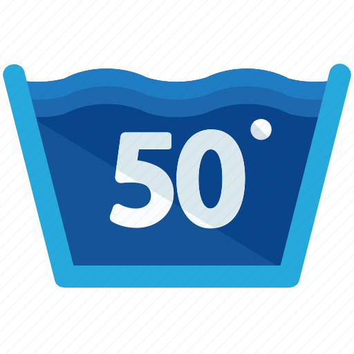 degrees, fifty, instructions, machine, temperature, washing icon