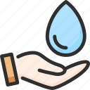 care, hand, hold, water icon