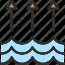 arrow, high, level, water