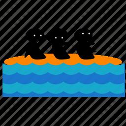 activities, banana, boat, ocean, ride, sea, water icon