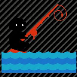 activities, equipment, fishing, ocean, sea, sport, water icon