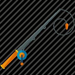 activities, equipment, fishing, ocean, pole, sea, water icon